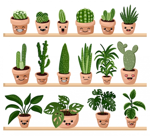 Set of hygge potted kawaii emoticon emoji succulent plants on shelf.