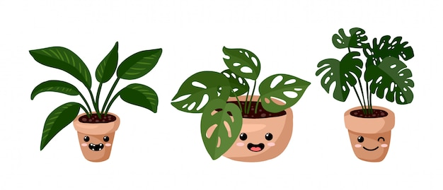 Set of hygge potted kawaii emoticon emoji succulent plants