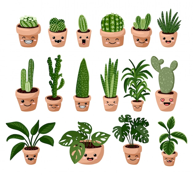 Set of hygge potted kawaii emoticon emoji succulent plants