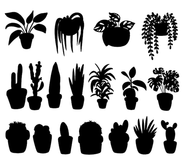 Set of hygge potted succulent plants black silhouettes. cozy lagom scandinavian style collection of plants