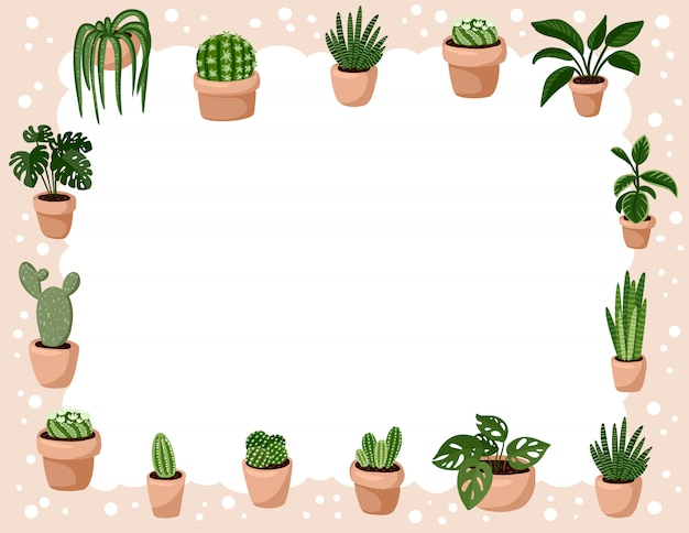 Set of hygge potted succulent plants frame