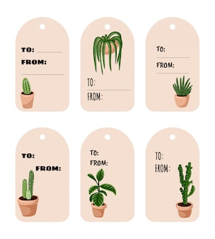 Set of hygge potted succulent plants gift tags. cozy lagom scandinavian style collection of labels