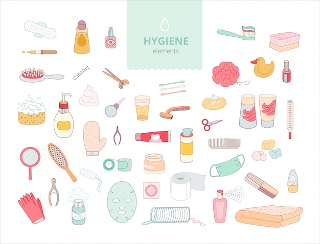 The set of hygiene elements on white background,