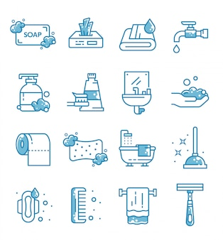 Set of hygiene icons with outline style
