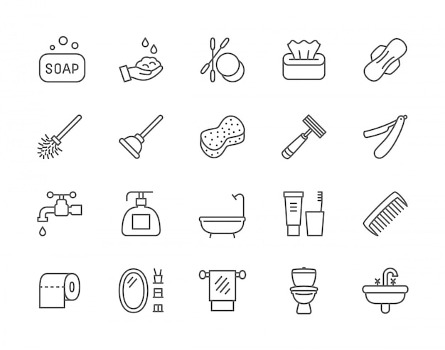 Set of hygiene line icons.