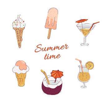 セットアイスクリームとカクテルのイラスト