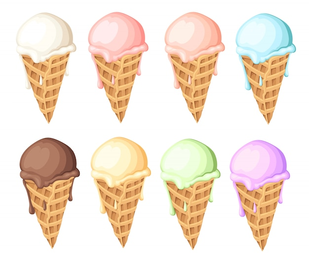 Set of ice cream balls in waffle cones. different color of ice cream.  illustration  on white background. web site page and mobile app .