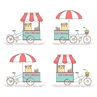 Set of ice cream bicycles. cart on wheels. food kiosk . vector illustration. flat line art. elements for building, housing, real estate market, architecture design, property investment flyer, banner