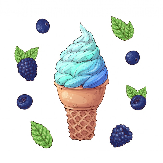 Set of ice cream cone blueberry