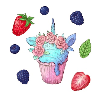 Set of ice cream cone vector illustration. stroberry, blueberry and raspberry blackberry ice cream