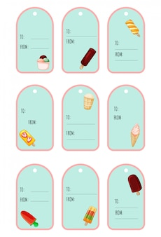 Set of ice cream cute festive gift tags