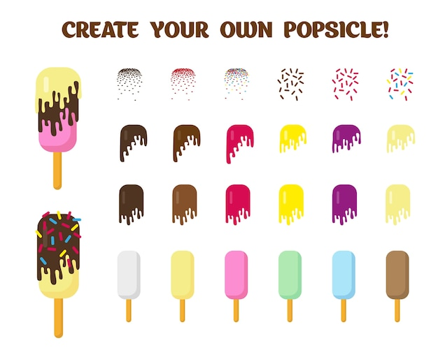 Set of ice cream elements for creating own popsicle