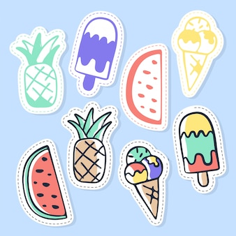 Set of ice cream and fruit stickers, pins, patches and handwritten collection in cartoon style.
