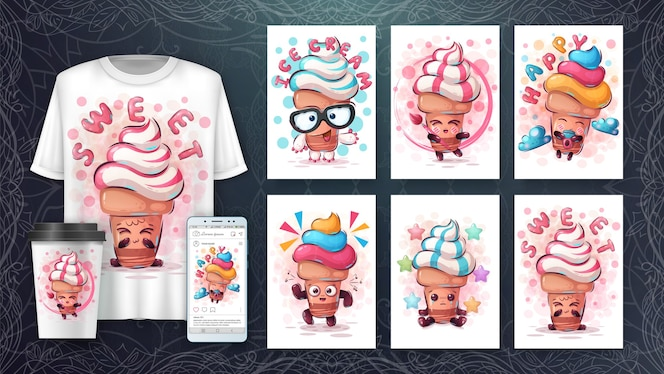 セットアイスクリーム-ポスターとマーチャンダイジング。