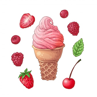 Set ice cream strawberry raspberry cherry