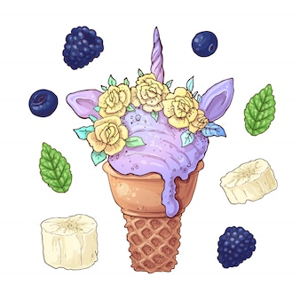 Set ice cream unicorn blackberry banana