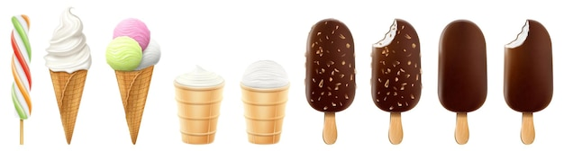 Set of ice cream in a waffle cone and popsicle isolated on a white background. realistic 3d vector