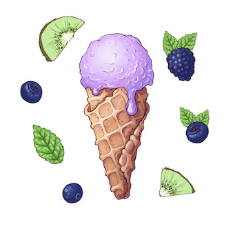 Set of ice cream with fruits