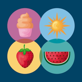Set of ice cream with watermelon and icons