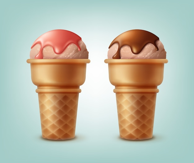 Set of ice creams in waffle cones sprinkled with syrup isolated