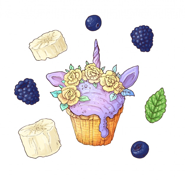 Set ice cup cake unicorn blackberry banana.