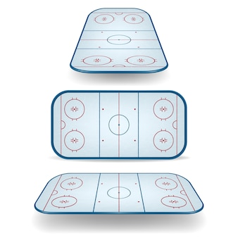 Set of ice hockey fields with different perspectives.