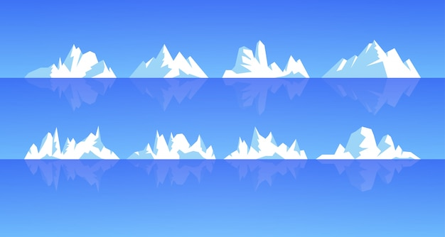 Set of ice mountain and iceberg illustration. rocky snowy mountains with ocean water reflection, different types snd forms. winter weather.