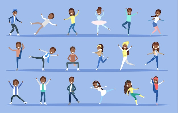 Set of ice skating african american people in different poses. winter activity and professional sport. flat vector illustration