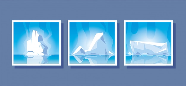 Set of iceberg or drifting arctic glacier set