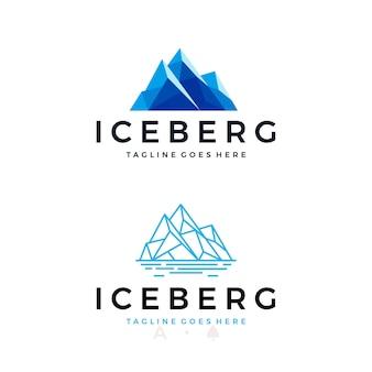 Установите дизайн логотипа айсберга или ледяной вершины