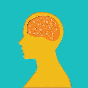 Установить значок мозгов. концепция. тонкая линия и объедините форму с объектом мозга.