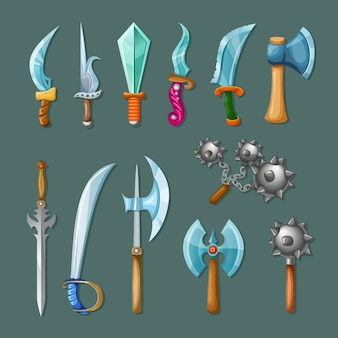 Set icon cartoon weapons