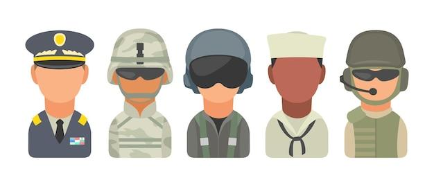 아이콘 문자 군인을 설정합니다. 군인, 장교, 조종사, 해병, 기병, 선원. 흰색 배경에 벡터 평면 그림입니다. 프리미엄 벡터