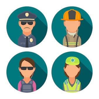 아이콘 캐릭터 사람들을 설정합니다. 경찰, 경호원, 소방관, 구급대원. 청록색 원에 벡터 평면 그림