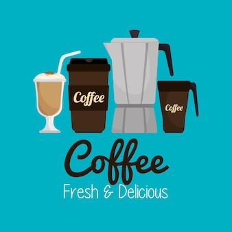 Set icon кофе горячий и свежий графический