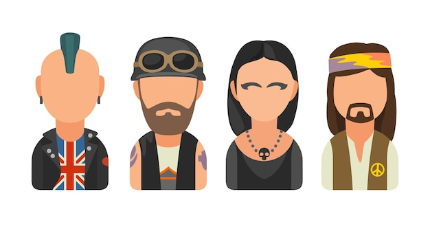 Set icon different subcultures people punk biker goth hippy vector flat illustration on white