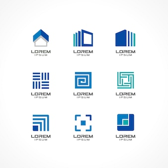 Set of icon  elements. abstract logo ideas for business company. building, construction, house, connection, technology concepts.  pictograms for corporate identity template. illustratio.
