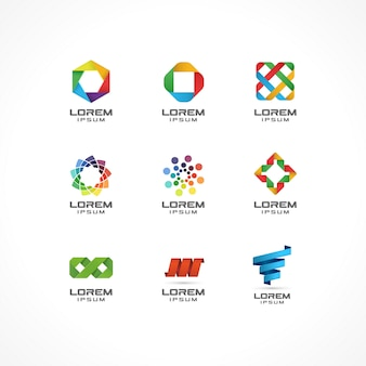 Set of icon  elements. abstract logo ideas for business company. internet,  communication, technology, geometric concepts.  pictograms for corporate identity template. stock illustration