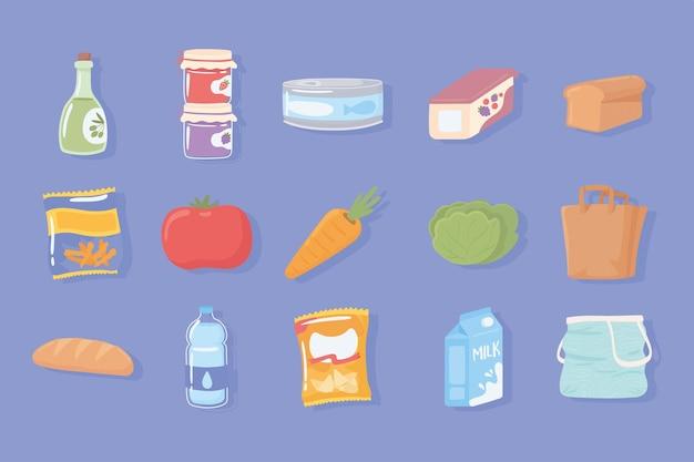 아이콘 식료품 제품을 설정