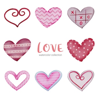 Set icon of hearts painted with water colours and different textures, isolated watercolor valentine concept element lovely romantic red-pink hearts for decoration, illustration.