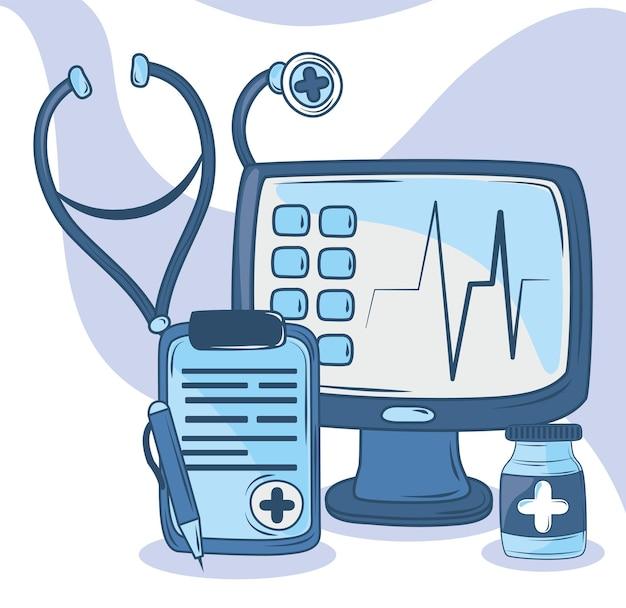 Набор значков медицинских инструментов