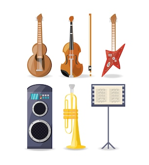 Set icon music instruments amplifier and music sheet