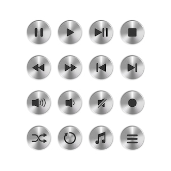 Установить значок кнопки круга металлического медиаплеера