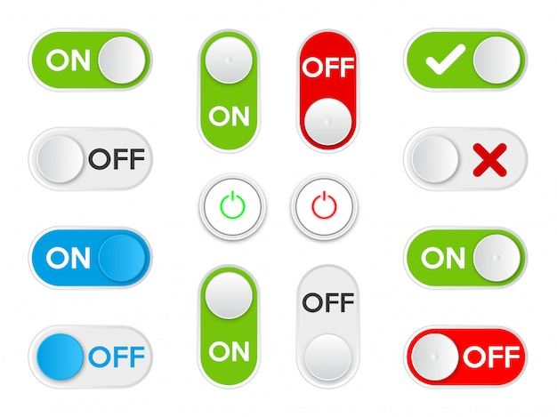 Set icon on and off toggle switch button.