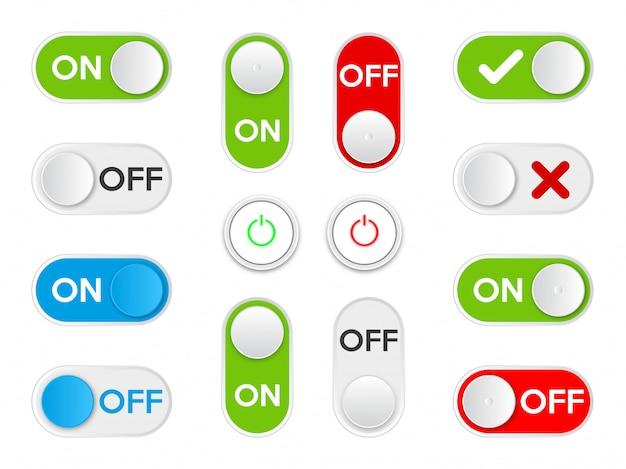 아이콘 켜기 및 끄기 토글 스위치 버튼을 설정하십시오.