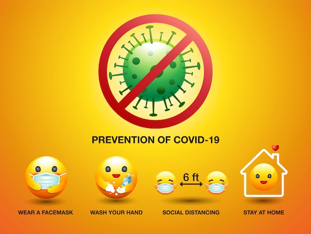 Set of icon smile face , prevention of covid-19, sign and symbol