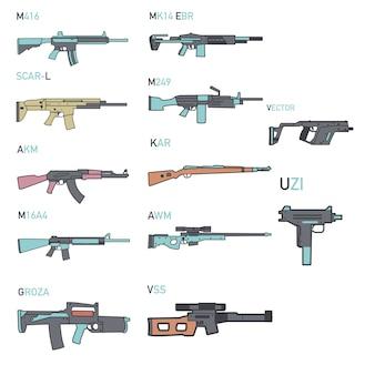 Set of icon various kinds guns