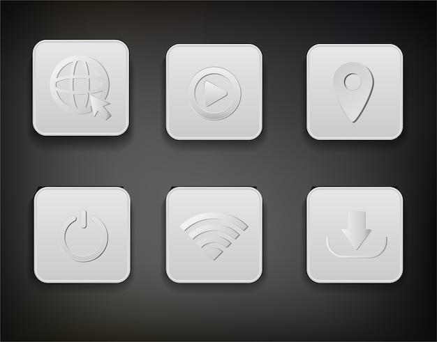 アイコンを設定するウェブボタン白いボタン