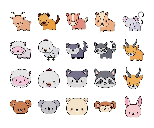 Set of icons animals baby kawaii, line and fill style icon