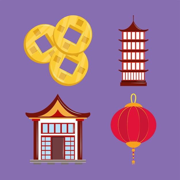 아이콘을 설정 아시아 문화